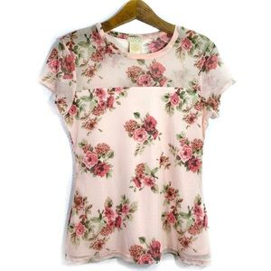 Love on Tap Pink Floral Mesh Square Neck Lined Top